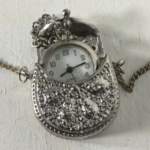 Vintage Purse Analog Watch Silver Tone Necklace
